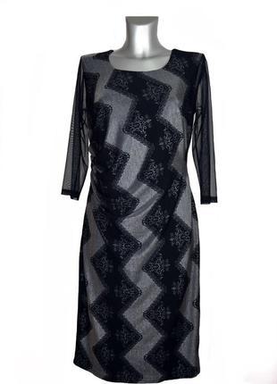 Праздничное черное платье, эмитация кружева dj desion.код п36299.