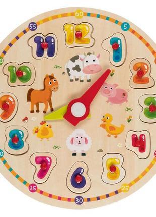 Головоломка-пазл-вкладыш часы с животными playtive. d 29 см.