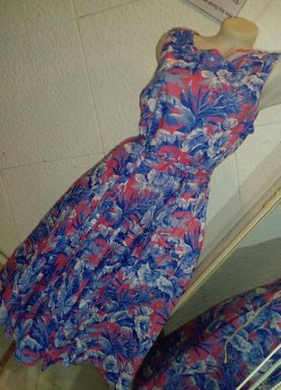 Платье хлопок на подкладке цветы