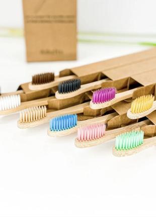 Набор из 10 экологических натуральных бамбуковых зубных щеток эко-щетки для зубов