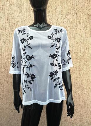 Блуза сетка с вышивкой george