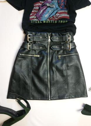 Шикарная плотная кожаная юбка с ремнями topshop