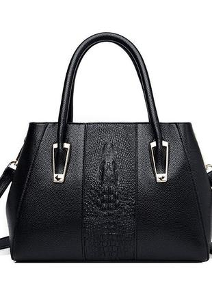 Большая чёрная кожаная сумка