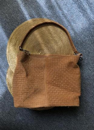 Сумка genuine leather borse in pelle кожаная замшевая шопер бежевая италия