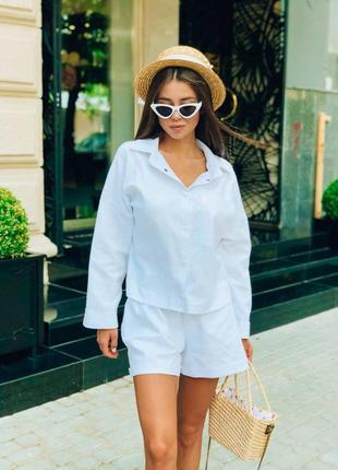 Льняной летний костюм шорты +рубашка белый