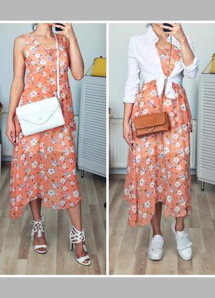 Красивое нежное оверсайз шивоновое платье миди в цветы цветочный принт