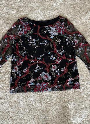 Блуза блузка цветы вышиванка вышивка