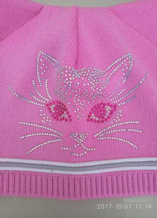 Классная розовая шапочка для девочки