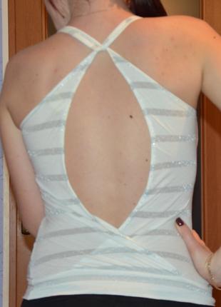 Майка с открытой спиной, вырез, полосатая