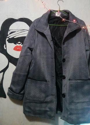 Серое пальто,  неопрен, пальто на пуговицах