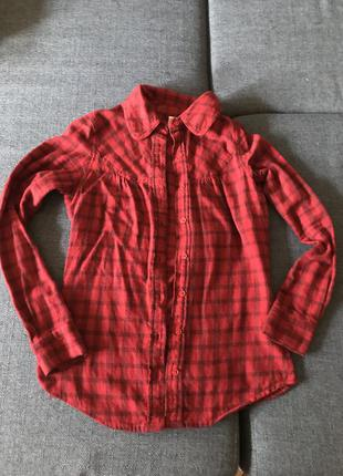 Стильная тёплая рубашка в клетку