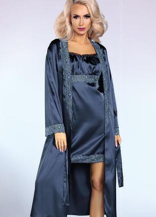 Yesenia комплект набор пеньюар синий с халатом кружево