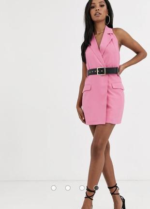Розовое платье-пиджак с поясом 4th + reckless