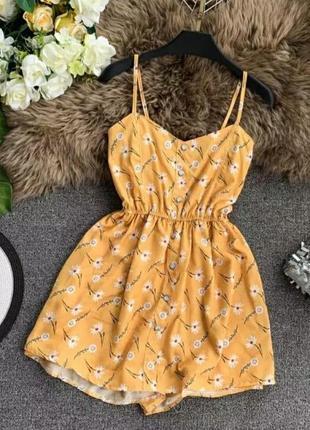 Желтый сарафан женский комбинезон комбез цветочный на резинке