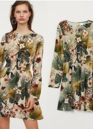 H&m легке актуальне плаття в тропічний принт на довгий рукав  100% візкоза р.s m