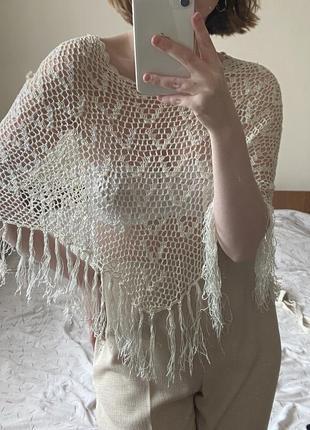 Винтажное вязаное пончо