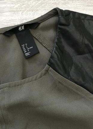 Платье хаки с кожаными вставками