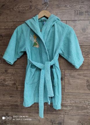 Махровый халат для девочки на запах м капюшоном