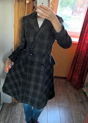 Oasis-s-необыкновенно пальто в клетку с баской на поясе,шерстяное,деми