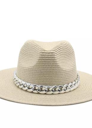 Женская пляжная шляпа, соломенная шляпка на пляж. жіночий пляжний капелюшок