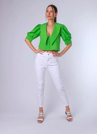 Укорочённая блуза с объемными рукавами и отложным воротником турция