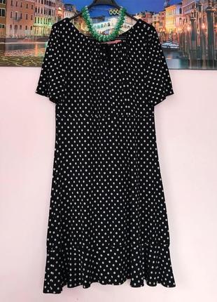 Платье в горошки с рюшами