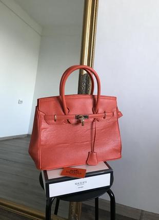 Яркая сумка в стиле hermès birkin с картой 35 см k00 u00