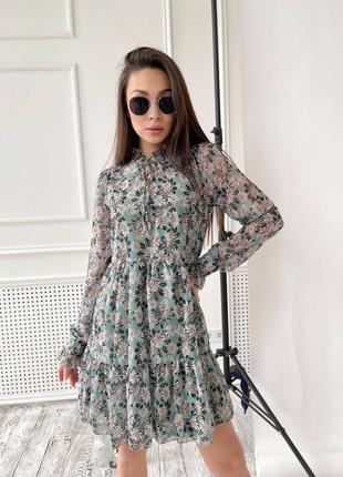 Платье шифоновое  с ромашками длинный рукав  весна / лето