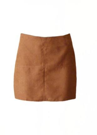 Короткая юбка трапеция под замш нубук atmosphere