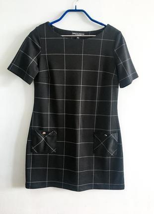 Размер s платье в ретро стиле 60 70 х клетка принт в клетку черное короткое а силуэта