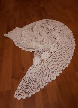 Шарф  платок шаль вязаный  кружево