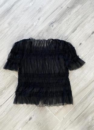 Классная трендовая прозрачная фатиновая блуза топ