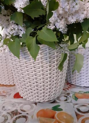 Кашпо плетеный плетеное ротанговое из ротанга корзина стильное шикарное прованс