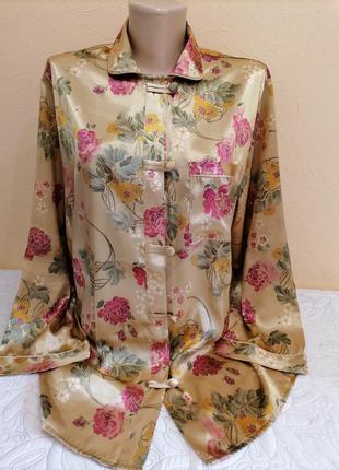 """Верх от  атласной пижамы в стиле """"кимоно"""" в цветочный принт c&a."""