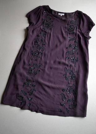 Свободное платье с вышивкой и пайетками большой размер 3xl-5xl 100% вискоза john rocha