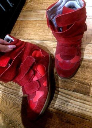 Marant сникерсы красные замша кожа 37р