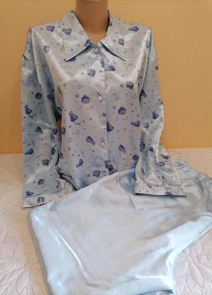 Легкая атласная пижама домашний костюм