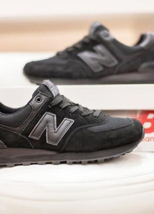 Женские кроссовки new balance 574 черные,замшевые,летние