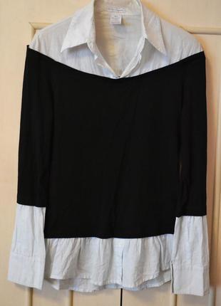❀скидки! блуза кофта castro 2 в 1 нежно-голубая с черным, черная с белыми манжетами