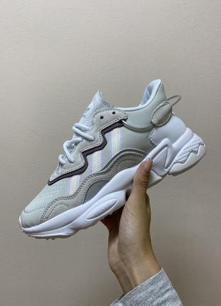 Женские кроссовки adidas ozweego grey / white, серые/белые премиум качество