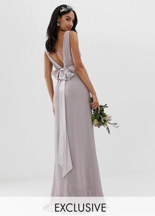 Шикарное вечернее, выпускное, свадебное платье в пол с открытой спинкой