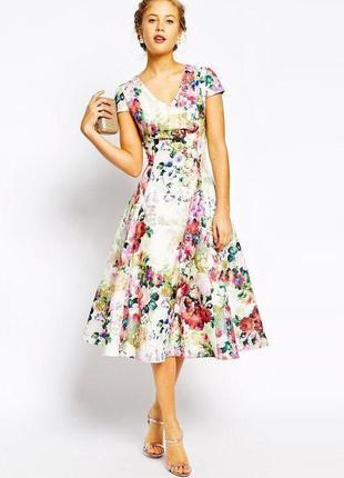 Распродажа пышное приталенное платье true decadence с цветочным гобеленовым принтом asos