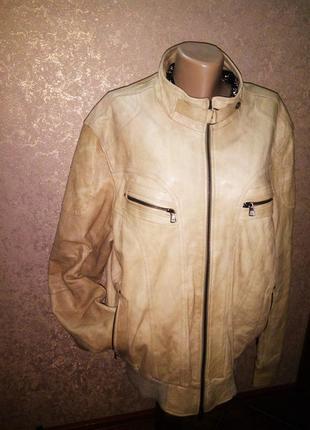 Мужская курточка кожаная натуральная berna италия р.56 (большой размер)