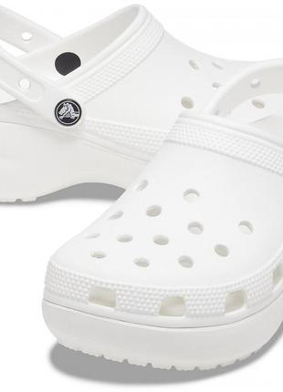 Crocs women's classic platform clog white  женские кроксы сабо