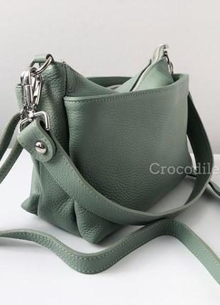 Кожаная сумка кроссбоди 3 молнии италия 29591 мятная