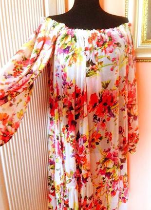 """Супер-яркое воздушное-летящее платье-трансформер """"mng"""" в цветочный принт3 фото"""