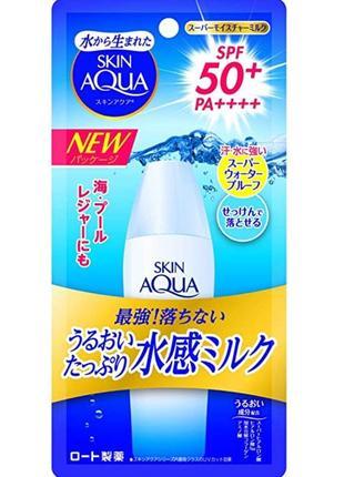 Санскрин для жирной кожи rohto skin aqua uv super moisture milk spf 50 япония