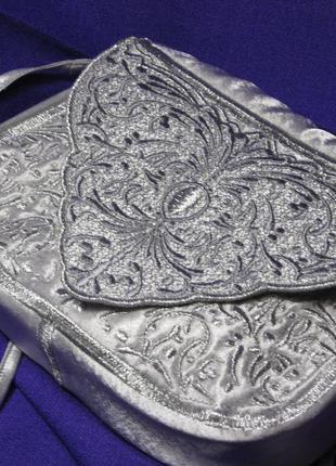 Клатч серебряный, ажурный. сумочка серебряная, кружевная с вышивкой, серебро.