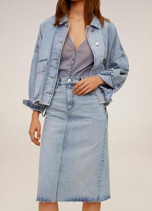 Классная джинсовая миди юбка mango