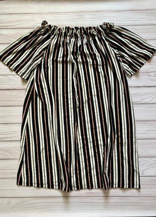 Платье со спущенными плечами в полоску летнее чёрное белое миди